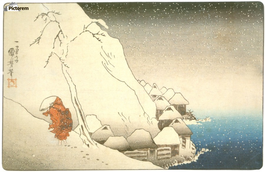 The Buddhist Monk Nichiren in the Snow at Tsukahara
